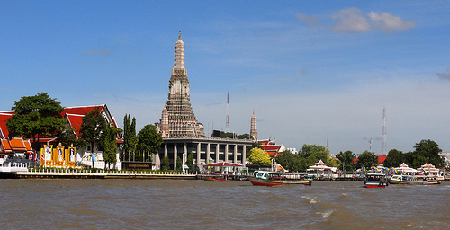 View of Chao Phraya River and Wat Arun Temple in Bangkok