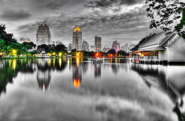 From Lumphini Park looking to Rama IV and Silom District, Bangkok, Thailand