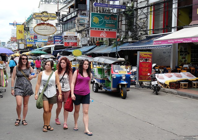 Walking in Khao San Road, Banglamphu, Bangkok, Thailand