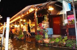 Evening at Amphawa Market in Thailand