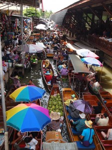 Boats at Damnoen Saduak Floating Market in Thailand