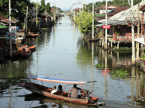 A Canal in Damnoen Saduak Floating Market
