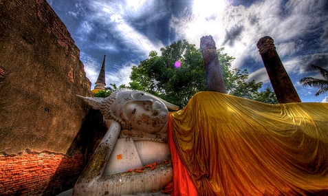 An Image of the Reclining Buddha, Wat Yai, Ayutthaya, Thailand