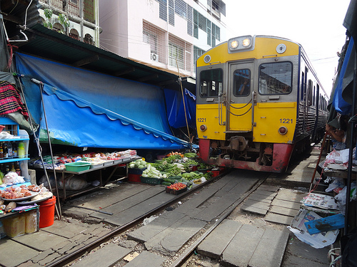 Maeklong Railway Market, Now Train is Coming!