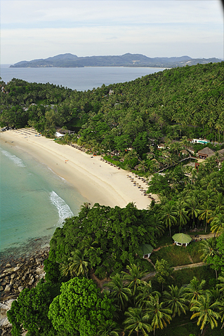 A Shot of Pansea Beach, The Surin Phuket is on the right and the Amanpuri at the bottom end of the beach