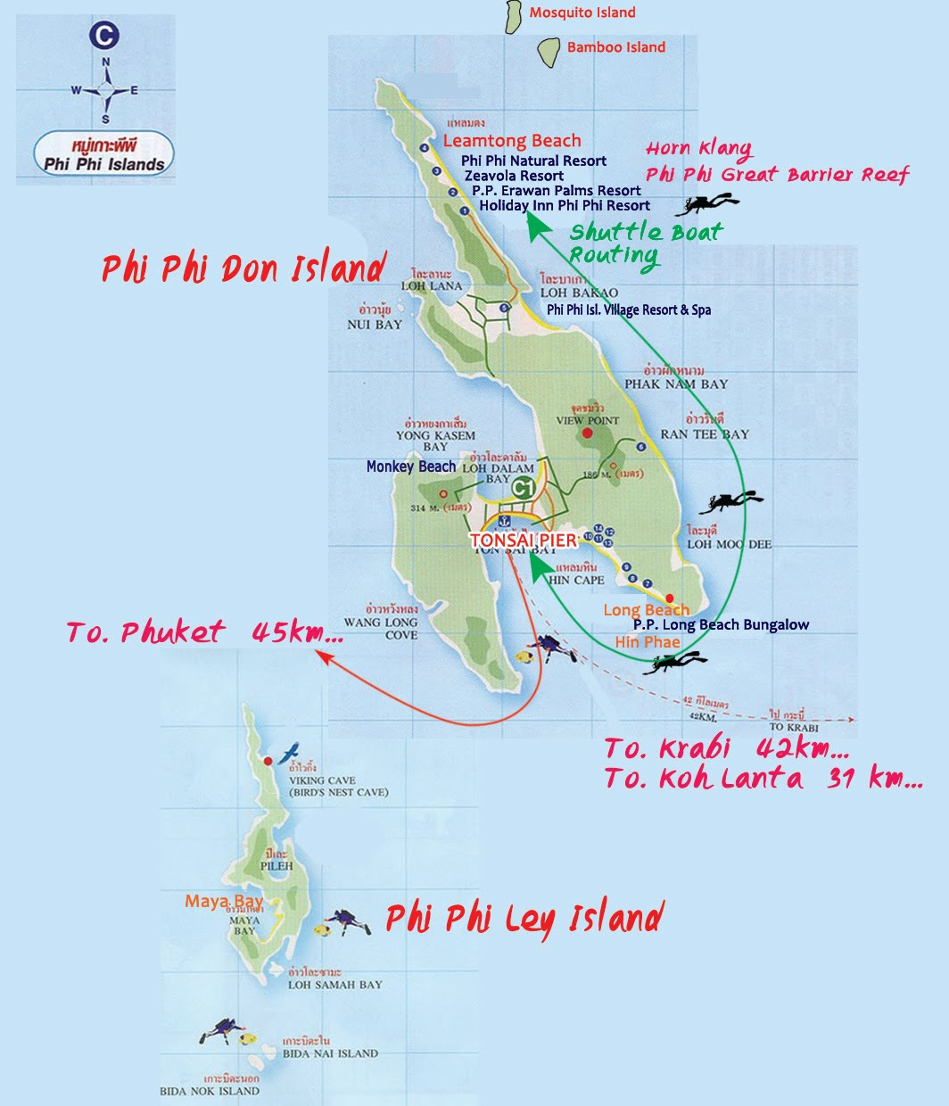 Map of Phi Phi Island