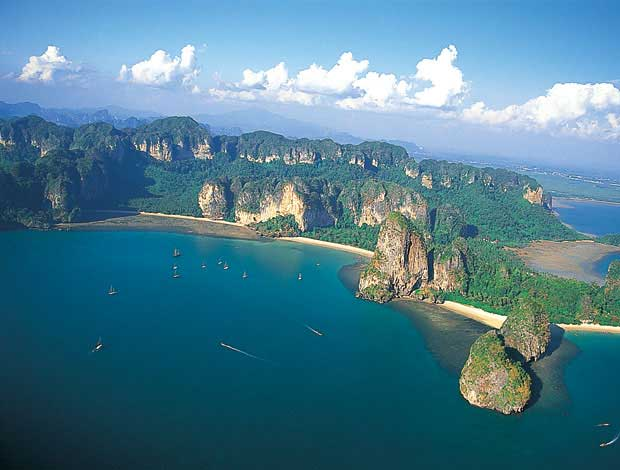 Aerial View of Railay Peninsula with Tonsai Beach (left), Railay West Beach (center) and Phra Nang Beach (right), Krabi, Thailand