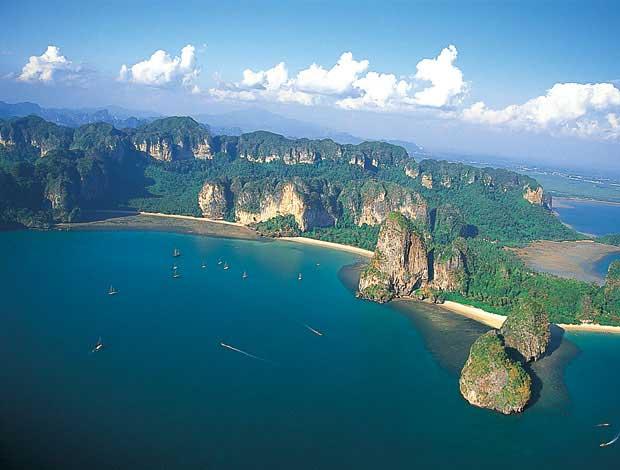 Aerial View of Railay Peninsula with Tonsai Beach (left), Railay West Beach (center) and Phra Nang Beach (right), Krabi, Thailand
