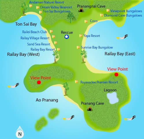 Map of Railay Beach in Krabi, Thailand