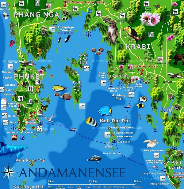 Phi Phi Island, Phuket, Koh Lanta and Krabi Map