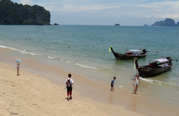 Ao Nang Beach, Boarding the Longtail to Railay West, Krabi, Thailand