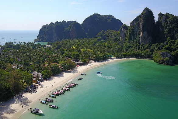 Railay West Beach from a Drone, Krabi, Thailand