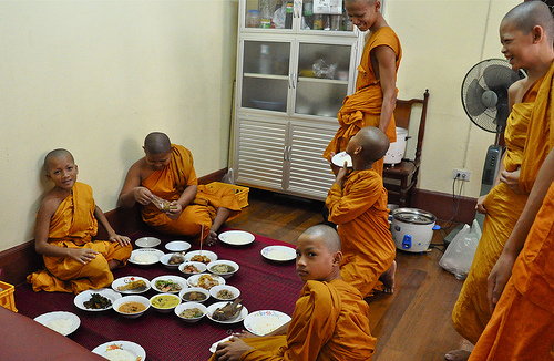 A shot of Monks in Bangkok