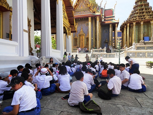 A Shot of school children at Grand Palace in Bangkok