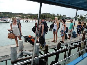 Boarding Haadrin Queen Ferry at Big Buddha Beach Pier, Koh Samui