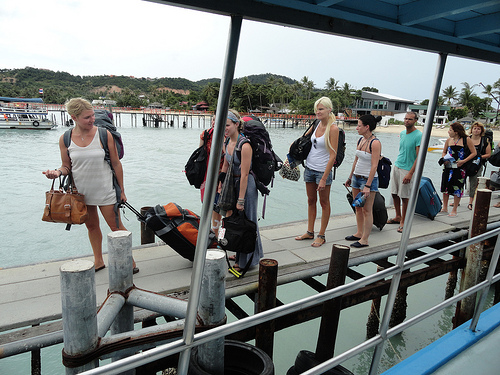 Boarding Haadrin Queen Ferry at Big Buddha Beach Pier, Koh Samui