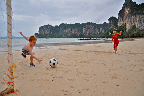 Playing Football, Railay West Beach, Krabi
