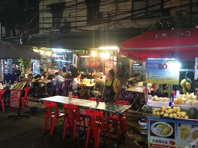 Restaurant in Soi Rambuttri at Night, Banglamphu, Bangkok, Thailand