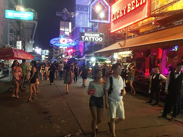 Walking in Khao San Road in the Evening, Banglamphu, Bangkok, Thailand