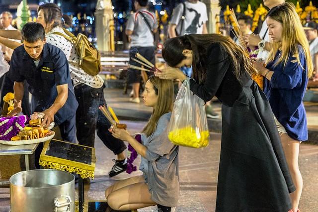 Worshippers at Erawan Shrine, Bangkok, Thailand