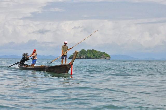 Fishermen aboard a Longtail Boat, Krabi, Thailand