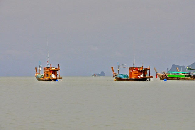 Fishermen at Sea, Krabi, Thailand