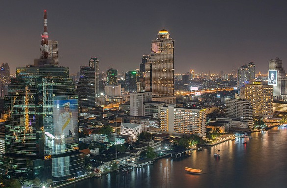 Chao Phraya River and Bangkok Skyline at Night
