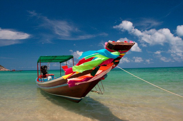 Longtail Boat and Blue Sky, Bottle Beach, Koh Phangan, Thailand