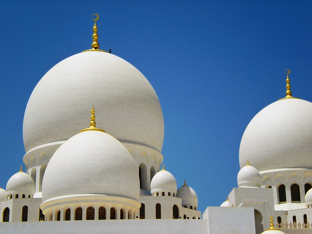 A View of Beautiful Sheikh Zayed Grand Mosque in Abu Dhabi in United Arab Emirates