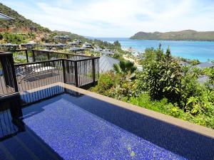 The private villas at Raffles Resort, Praslin Island
