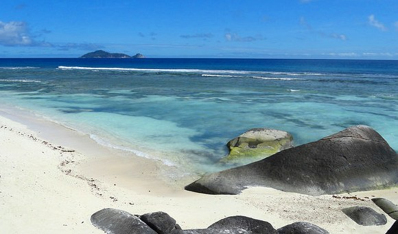 View of Silhouette Beach with North Island in the background, Seychelles