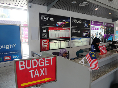 Photo of Budget and Premier Taxi Counters at Kuala Lumpur Sentral Station