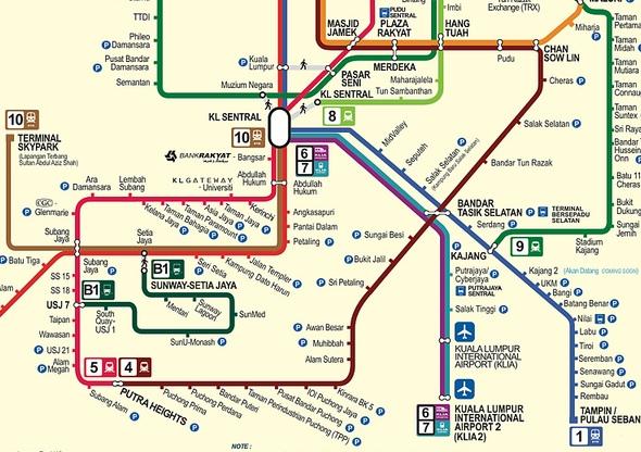 Kuala Lumpur Airports Train Transportation Map