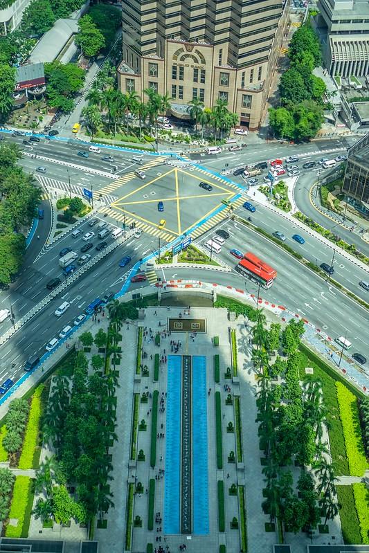 Corner of Jalan Ampang and Jalan Ramlee from The Skybridge, The Petronas Towers, Kuala Lumpur, Malaysia