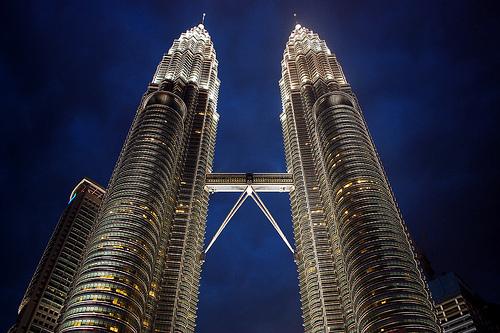 A Photo of Petronas Towers by Night in Kuala Lumpur, Malaysia