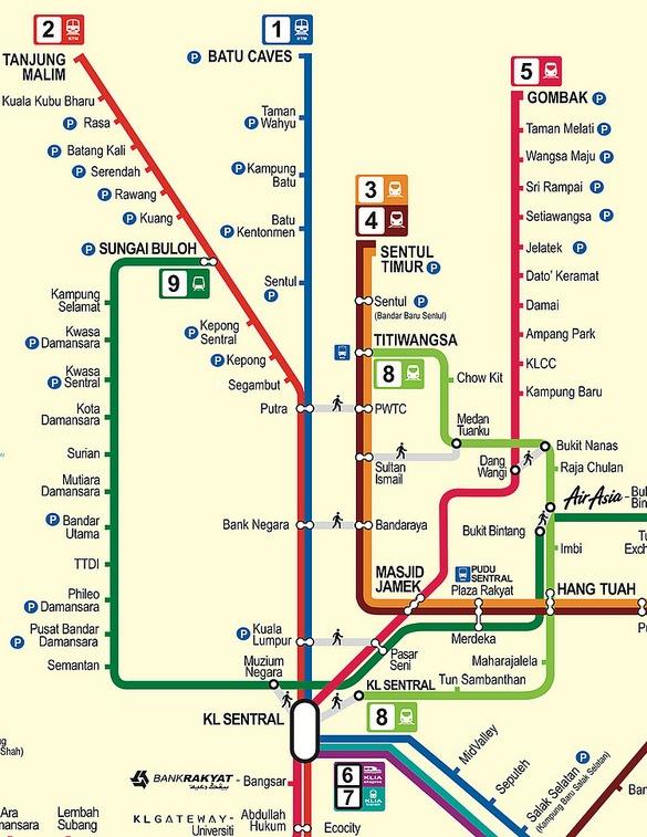 Batu Caves and Kuala Kubu Bharu Transportation Map, Kuala Lumpur