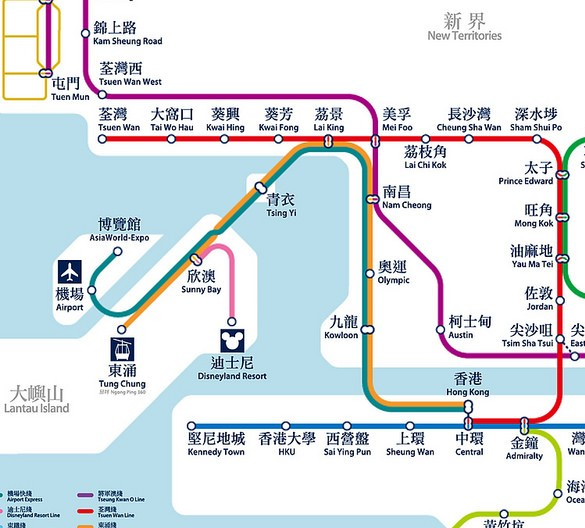 Hong Kong Airport Express Train Map