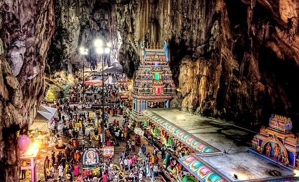 Inside Batu Caves on Thaipusam Festival, near Kuala Lumpur, Malaysia