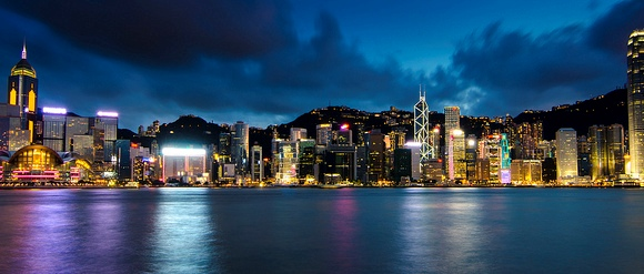 Night View of Hong Kong famous Victoria Harbour