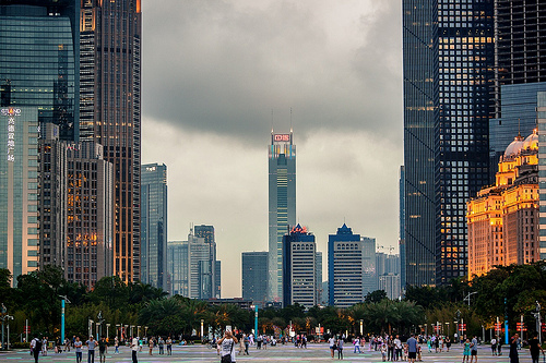 A Photo of Guangzhou, Zhujiang New Town CBD, China