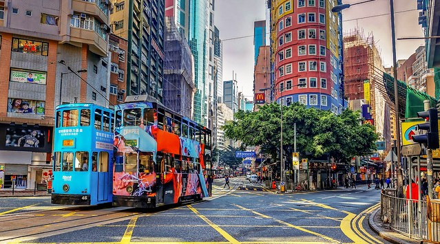 Trams, Wan Chai, Hong Kong Island