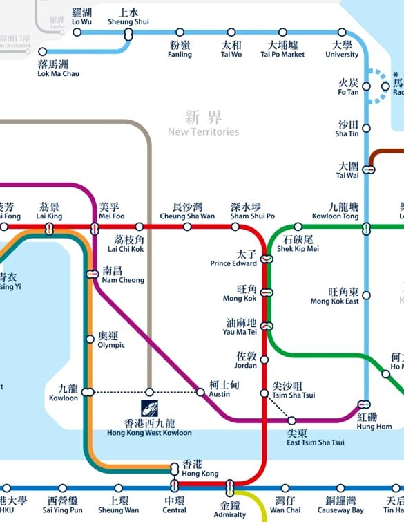 East Rail Line MTR Hong Kong Map