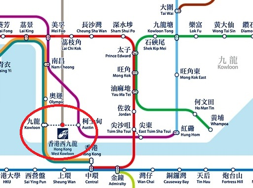 Hong Kong Kowloon West Station MTR Connection Map