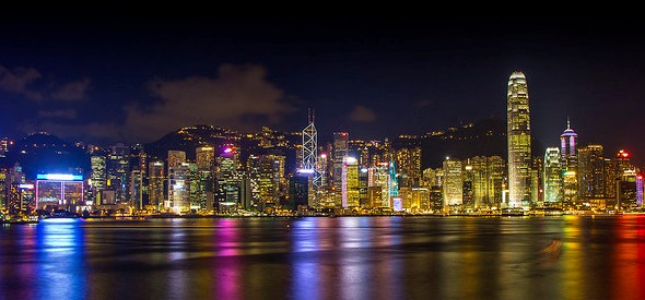 Looking toward Hong Kong Island from the Tsim Sha Tsui's Avenue of Stars, Kowloon, Hong Kong