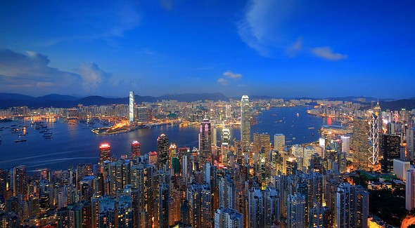 Sheung Wan (left) and Central (right) Neighbourhoods from Victoria Peak, Hong Kong Island