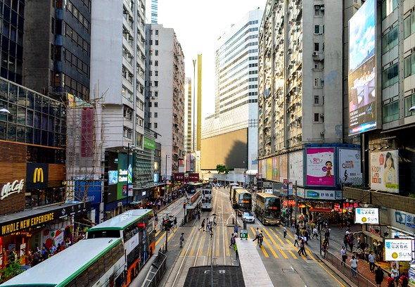 Trams in Causeway Bay, Hong Kong Island