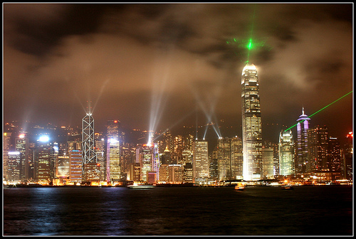 A Photo of Symphony of Lights Show in Hong Kong