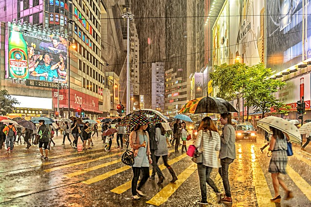 A Stormy Night at Causeway Bay, Hong Kong Island
