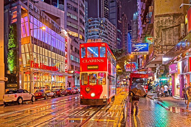 Night at Johnston Road, Wan Chai, Hong Kong Island