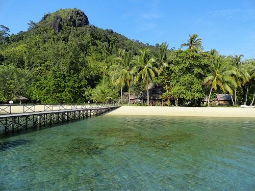 The Pier and the Restaurant at Paradiso Village, Pulau Cubadak, Sumatra, Indonesia